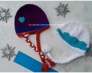 Cappellino ad uncinetto da bambina Elsa e Anna Frozen 9183c6fe6327