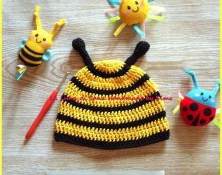 Cappellino a uncinetto a forma di ape per neonato b09237b1e2e6