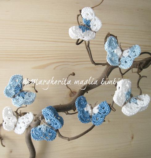 Elastico fermacapelli/accessori capelli , farfalla , azzurro/blu/bianco ,  fatto a uncinetto , cotone