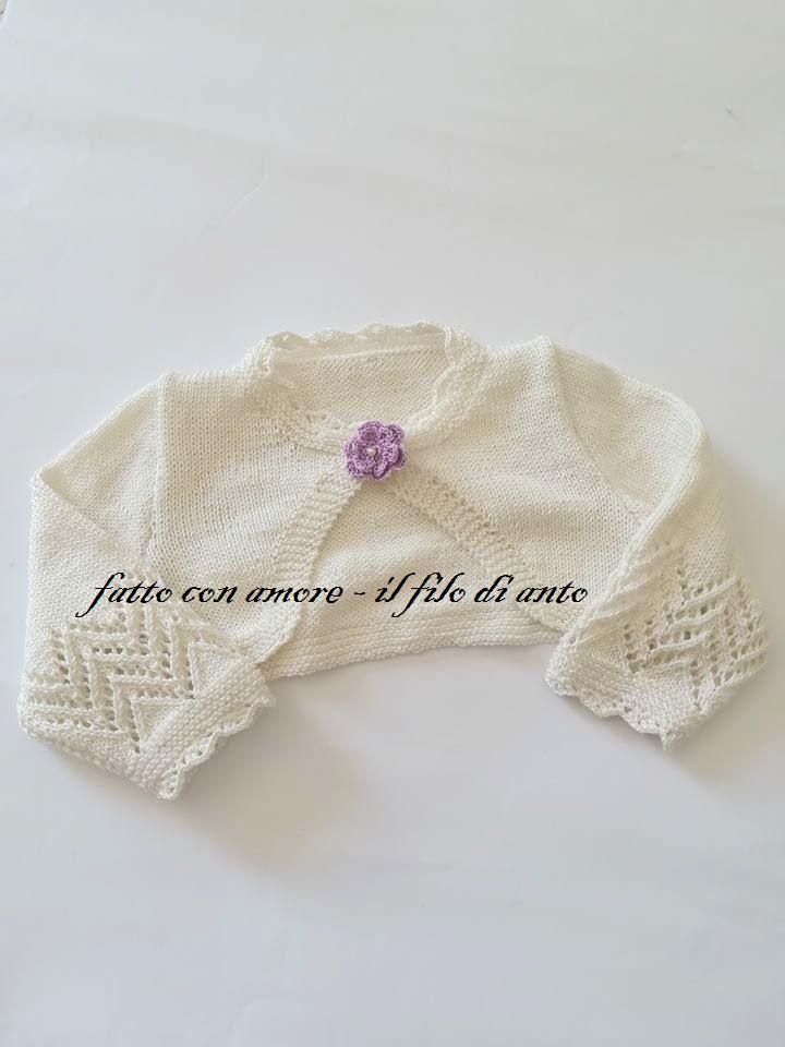 Giacchino Coprispalle Maglia Bambina In Puro Cotone Panna