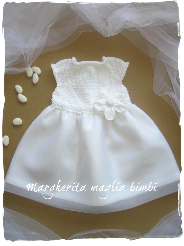 size 40 06895 a971a Abito bambina cotone e lino bianco con tulle - fatto a mano - Battesimo