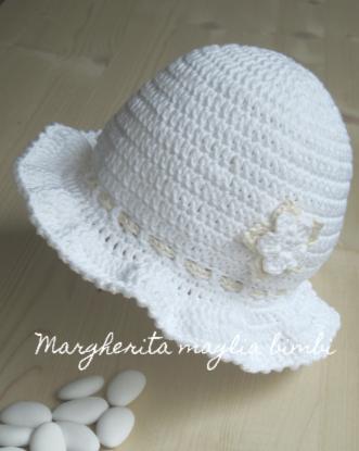 vendita calda autentica vendita più economica come comprare Cappello bambina/cappellino neonata Battesimo - cotone bianco e  panna/crema/avorio - uncinetto