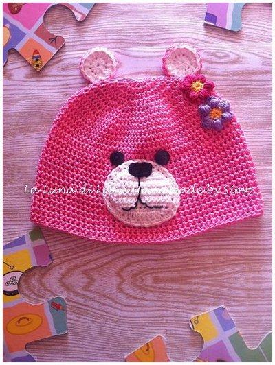 100% genuino Promozione delle vendite risparmia fino all'80% Cappello uncinetto per bimba a forma di orsetto in cotone