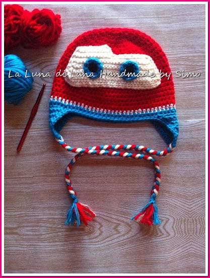 Cappellino ad uncinetto per bambino ispirato a Saetta Mc Queen Cars 6392ffb1dce2