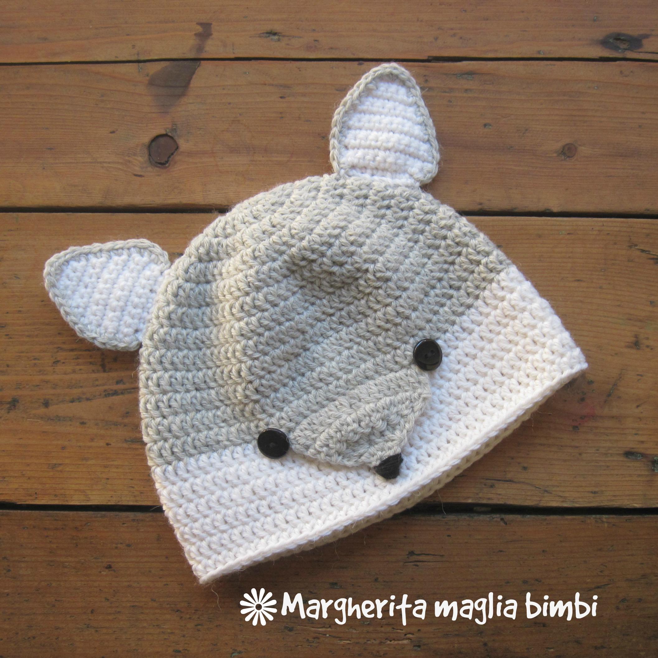 prima qualità shopping bene Cappello volpina, cuffia, berretto volpe argentata - bambino - lana/alpaca  - a mano/uncinetto