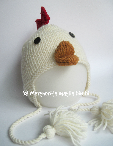 Berretto cappello galletto con paraorecchie - lana merino - bambino - fatto  a mano - maglia cd54ba40f88a