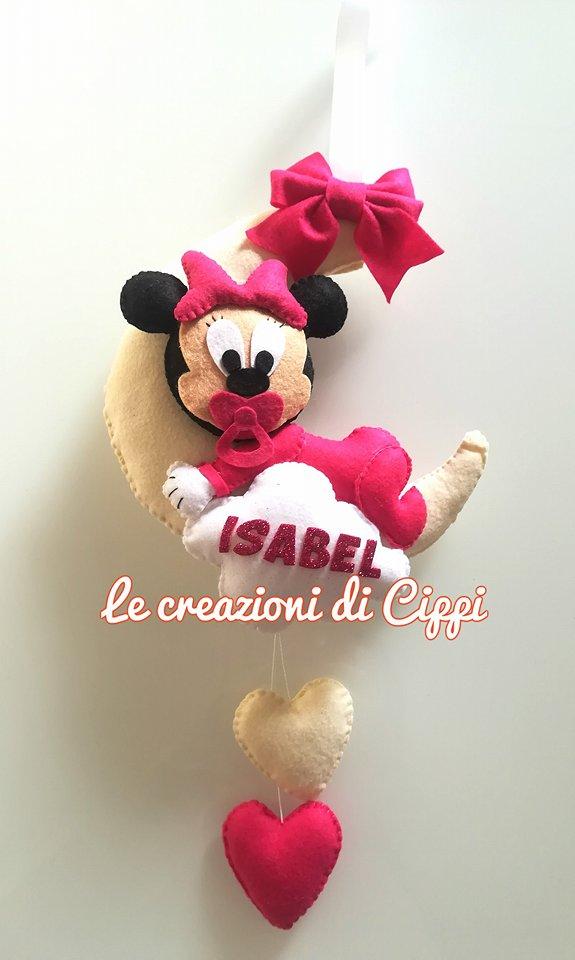 Fiocco Nascita Bambina Luna con Minnie in pannolenci con nome personalizzato