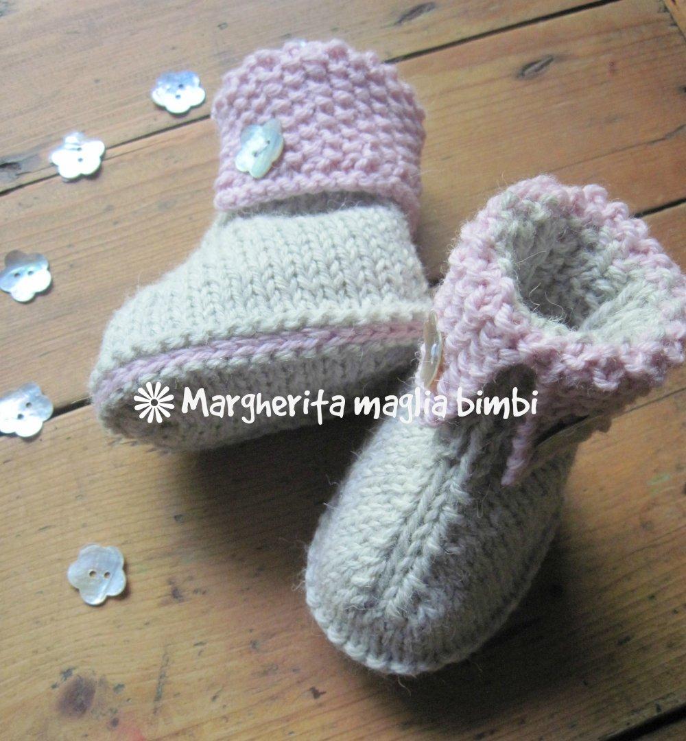 Stivaletti/scarpine grigio-rosa neonata/bambina lavorati a maglia in lana e alpaca