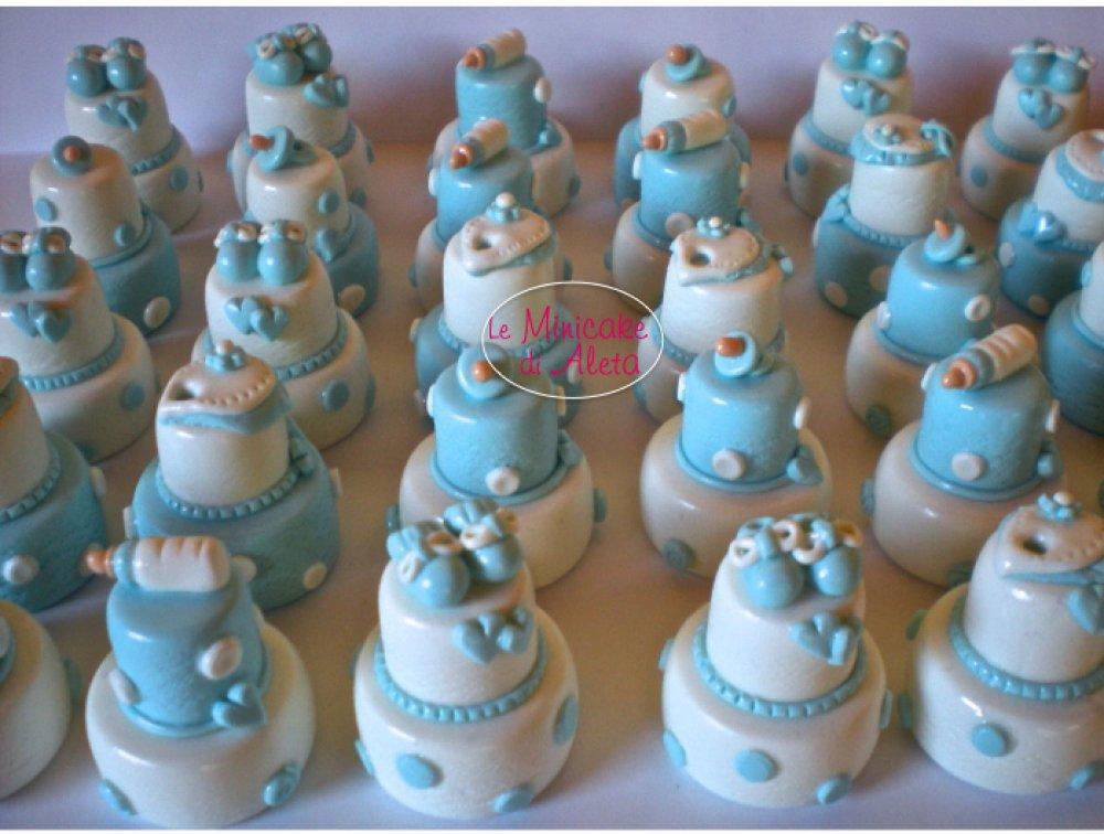 Mini cake azzurre set bebè