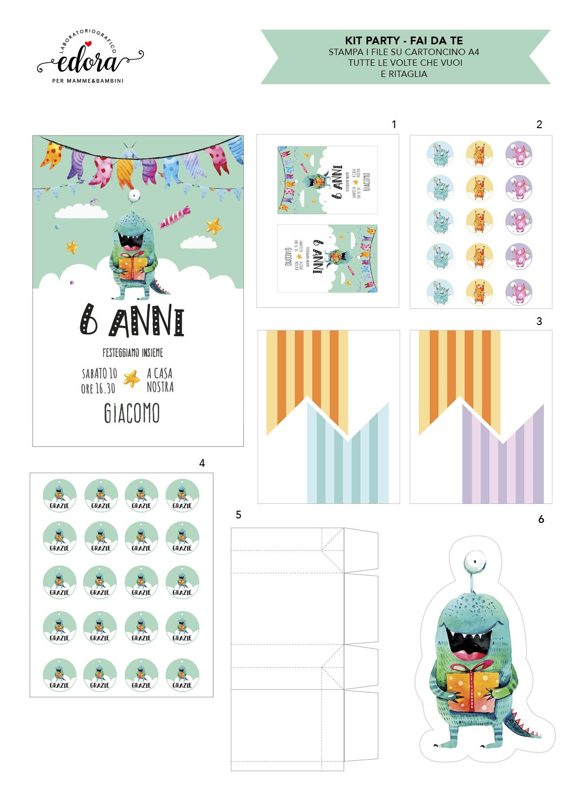 I Kit  per compleanni  pronti da stampare e ritagliare
