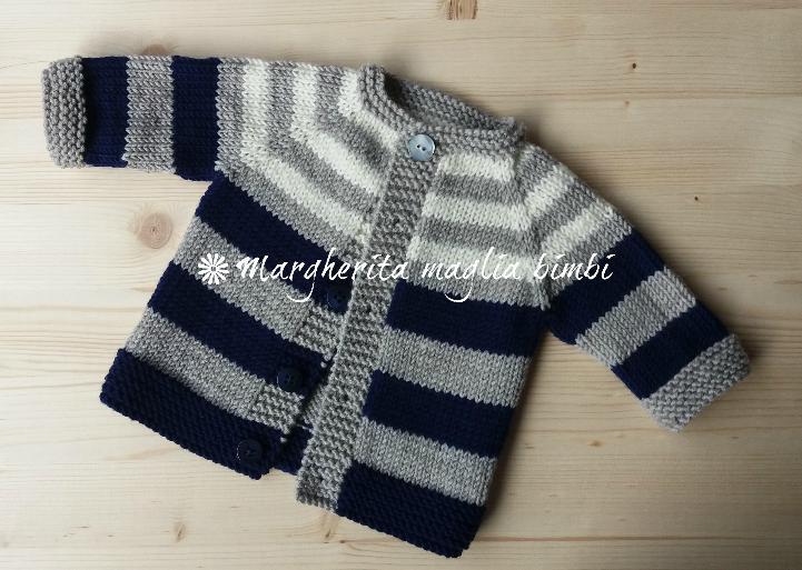 Pullover/cardigan/maglia neonato/bambino - righe - pura lana merino - fatta a mano