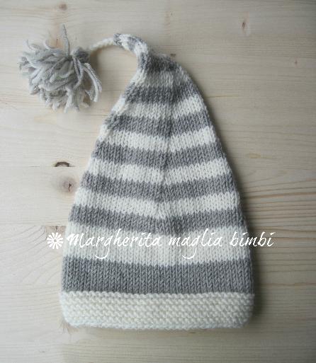 Cappello/berretto bambino - righe - a punta + nappina -  pura lana - fatto a mano