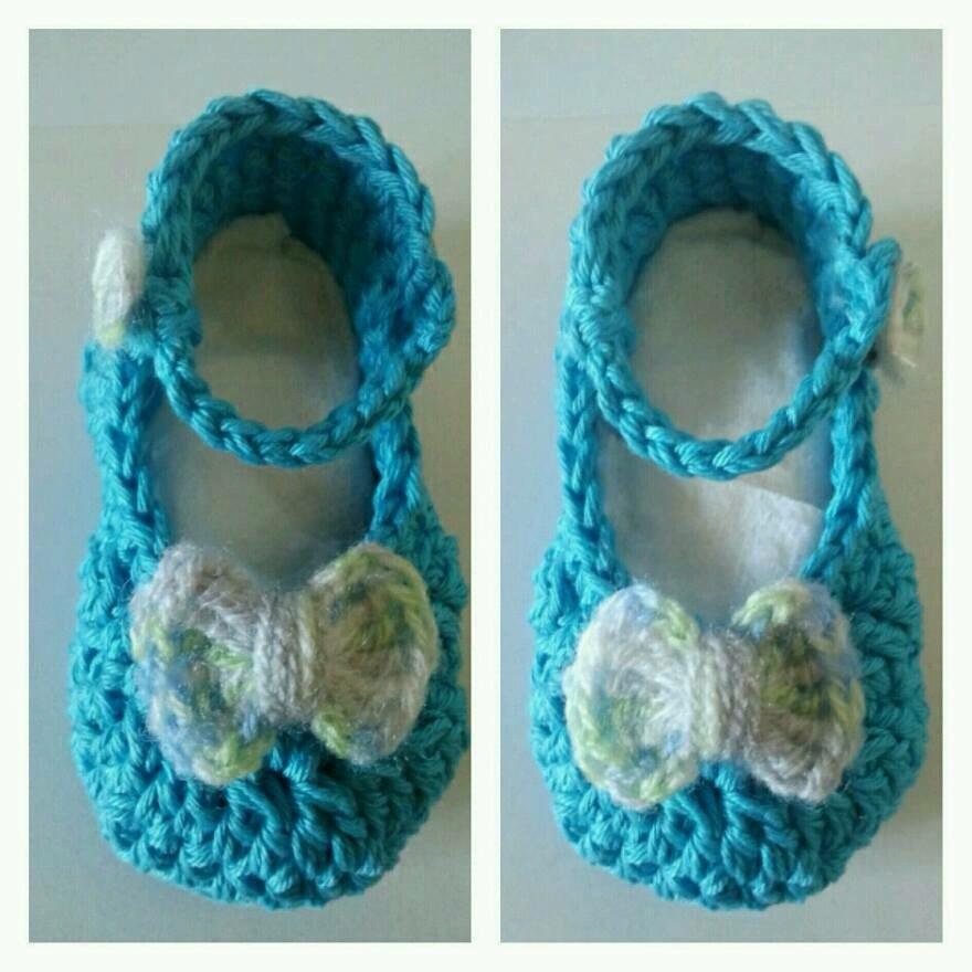 Scarpette a ballerina per neonata realizzate in cotone con uncinetto, neonato portafortuna battesimo