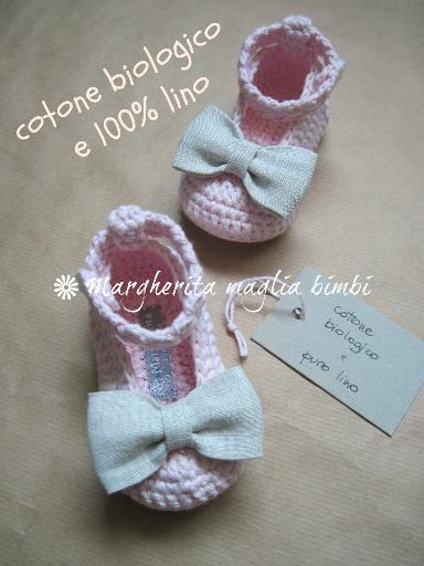 Scarpine  neonata - cotone biologico rosa - fiocco puro lino - fatte a mano - uncinetto