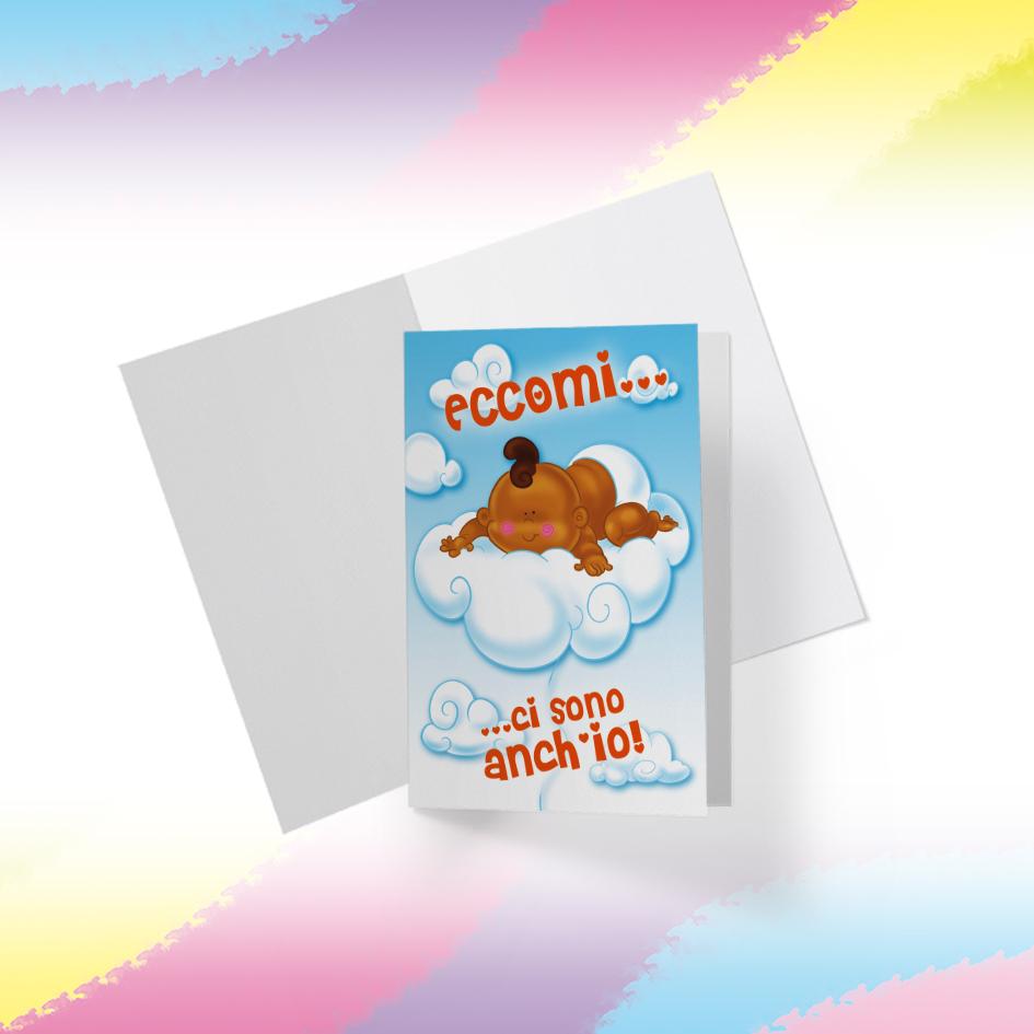 Biglietto Illustrato da stampare, download digitale, I love Bebè, Eccomi, Ci sono anche io, Nascita