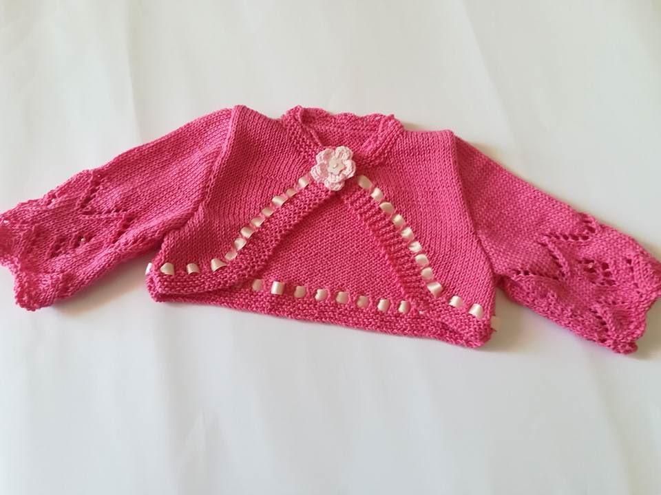 Coprispalle /bolerino /maglia / cardigan  bambina in puro cotone fucsia