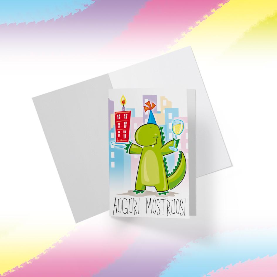 Biglietto Illustrato da stampare, download digitale, Auguri Mostruosi, Jurassic Party, Compleanno, Festa