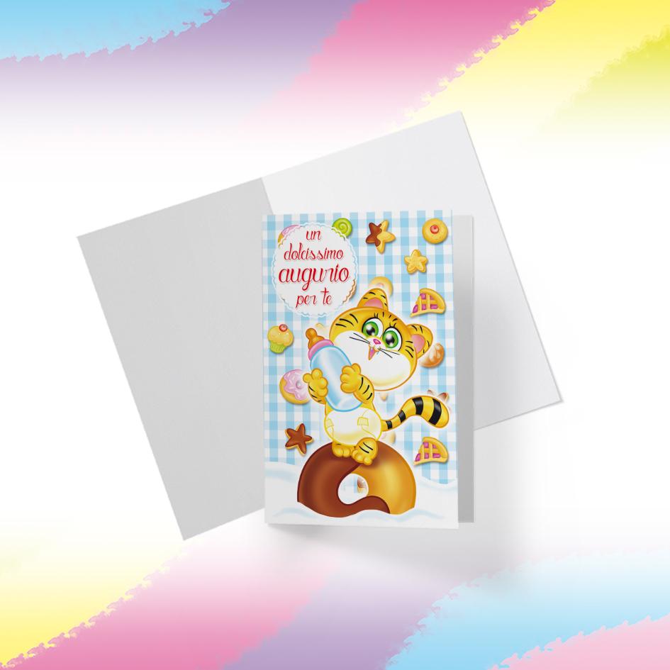 Biglietto Illustrato da stampare, download digitale, Dolcissimo Augurio, Tigrotto Candy Puppy