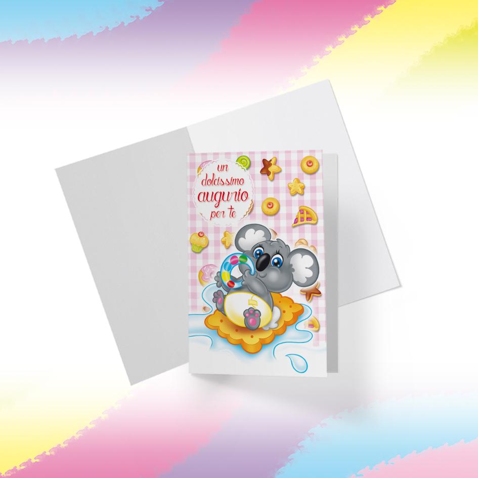 Biglietto Illustrato da stampare, download digitale, Dolcissimo Augurio, Koalino Candy Puppy