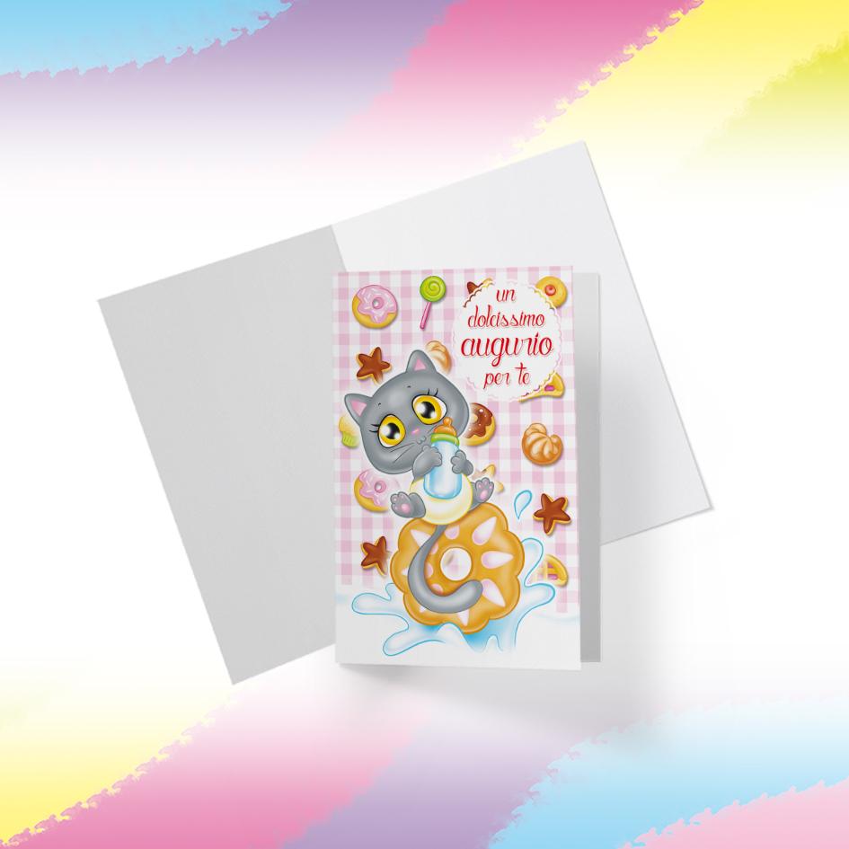 Biglietto Illustrato da stampare, download digitale, Dolcissimo Augurio, Micina Candy Puppy