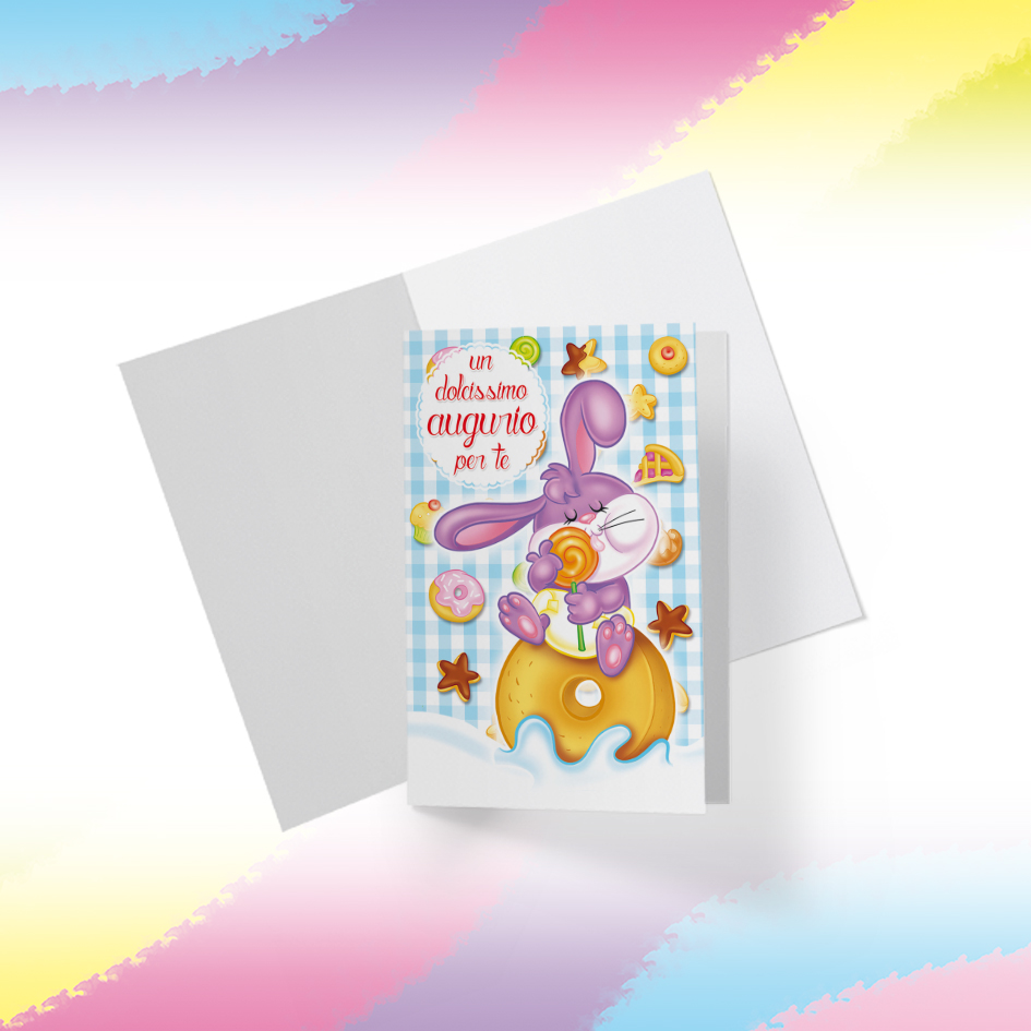 Biglietto Illustrato da stampare, download digitale, Dolcissimo Augurio, Coniglietto Candy Puppy