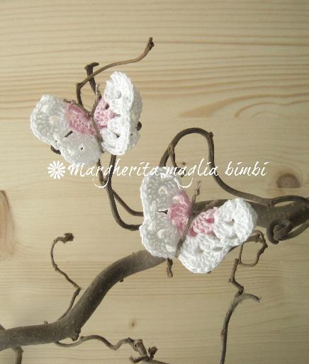 Coppia fermacapelli/elastici capelli farfalla rosa/bianca - accessori  - fatto a uncinetto - cotone