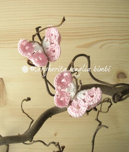 Coppia fermacapelli/elastici capelli farfalla bianca/rosa - accessori - fatto a uncinetto - cotone