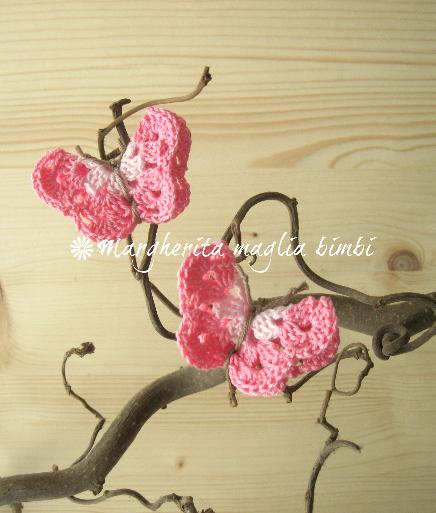 Coppia fermacapelli/elastici capelli farfalla rosa/rosa scuro - accessori - fatto a uncinetto - cotone