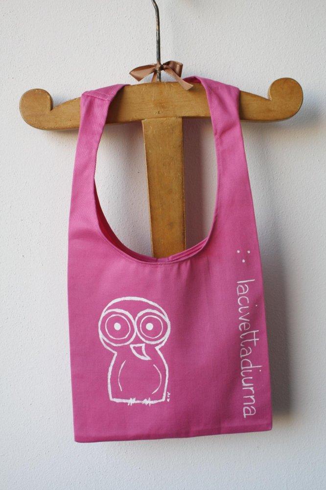 borsa rosa-borsa a un manico-borsa di cotone rosa-borsa dipinta a mano-civetta diurna-borsa a tracolla-borsa bambina