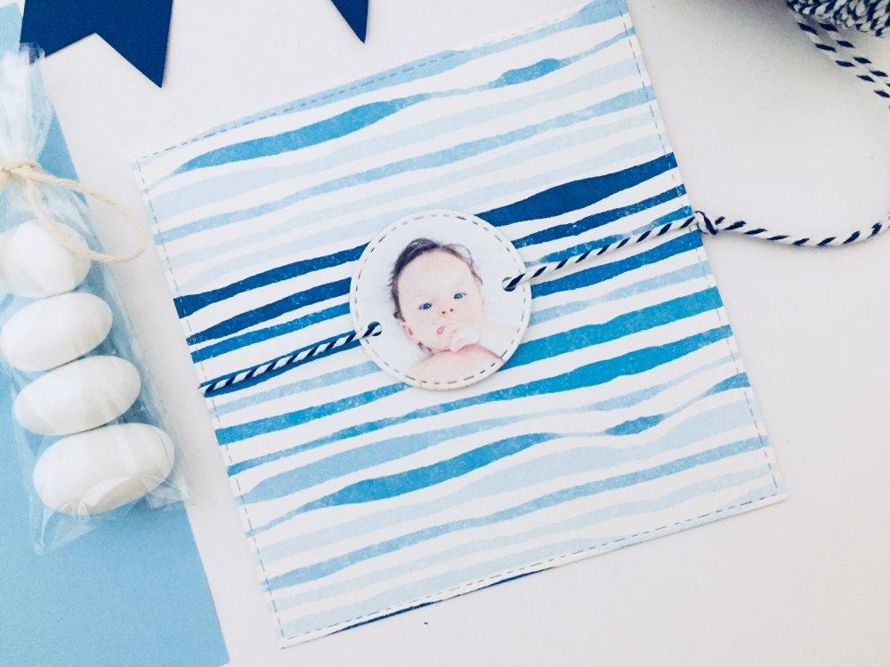 Invito  Partecipazione Battesimo tema mare con foto bambino