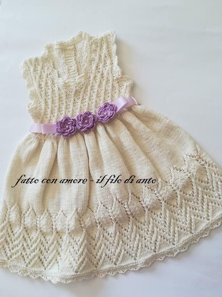 Abitino / vestitino bambina in cotone panna con fiore lilla