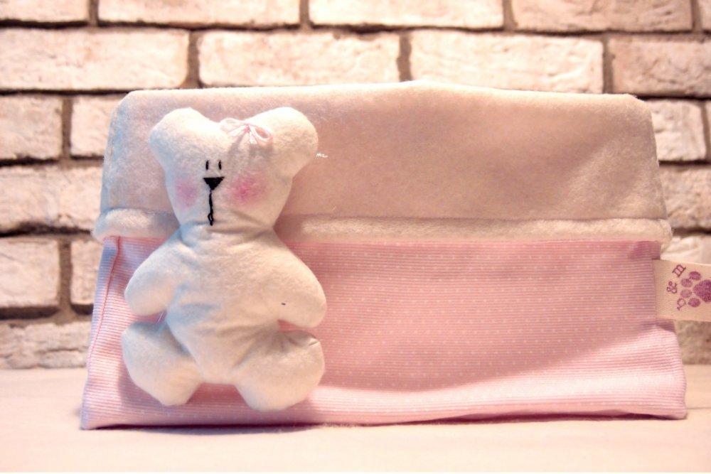 Cesta porta pannolini, portapannolini in tesuto, orsetto rosa