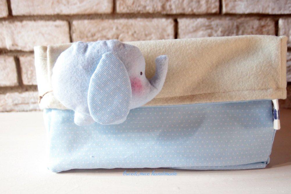 Porta pannolini in tessuto, contenitore in tessuto per pannolini, cesta per nursery, elefante in tessuto