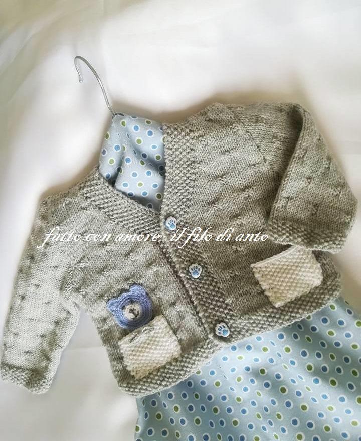 Cardigan / maglia bambino in pura lana merinos con orsetto