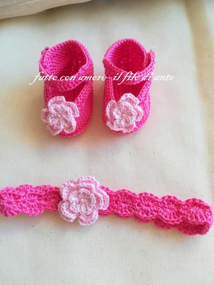 Scarpine e fascia bambina in puro cotone fucsia con fiore rosa