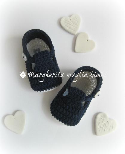 Scarpine neonato alla bebè/cotone blu/bianco - uncinetto - fatte a mano - Battesimo