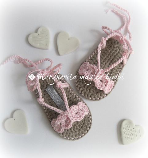 Sandali neonata/scarpine cotone rosa con laccetto alla caviglia - uncinetto - fatti a mano
