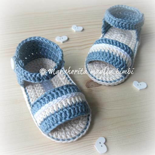 Sandali neonato/scarpine neonato in cotone jeans chiaro - uncinetto - fatto a mano