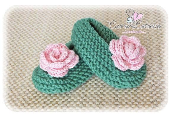 Babbucce per neonata con rosa
