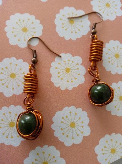 orecchini agata verde e rame