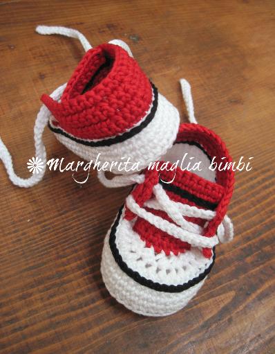 Scarpine neonato/sneakers bambino - cotone rosso/bianco/nero - uncinetto - fatte a mano