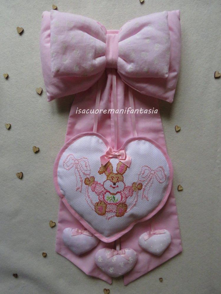 Fiocco nascita bimba con cuore punto croce