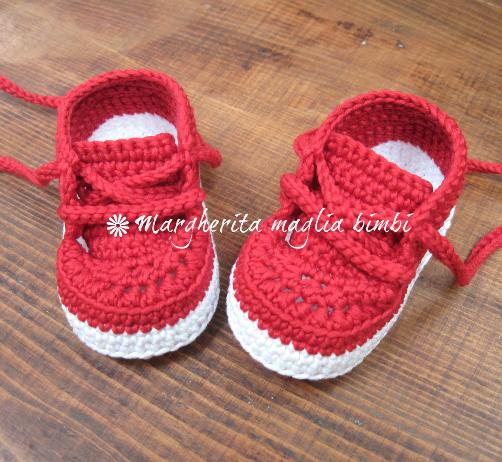 Scarpine/sneakers  neonato/bambino - cotone rosso - uncinetto  - fatte a mano