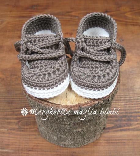 Scarpine/sneakers neonato/bambino - cotone grigio-verde - uncinetto - fatte a mano