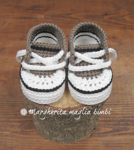 Scarpine neonato/sneakers bambino - cotone grigioverde/bianco/nero - uncinetto - fatte a mano