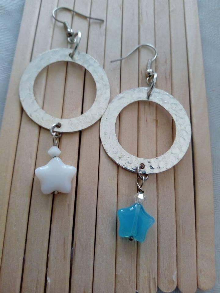 orecchini stelline bianco celesti
