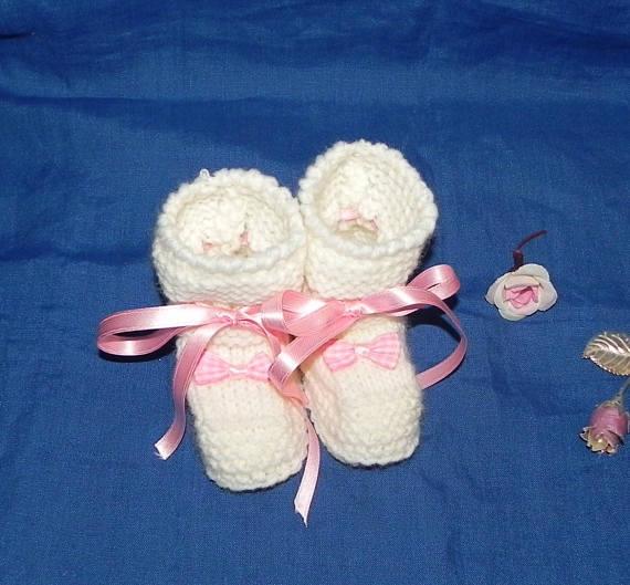 Scarpette in pura lana  realizzate ai ferri