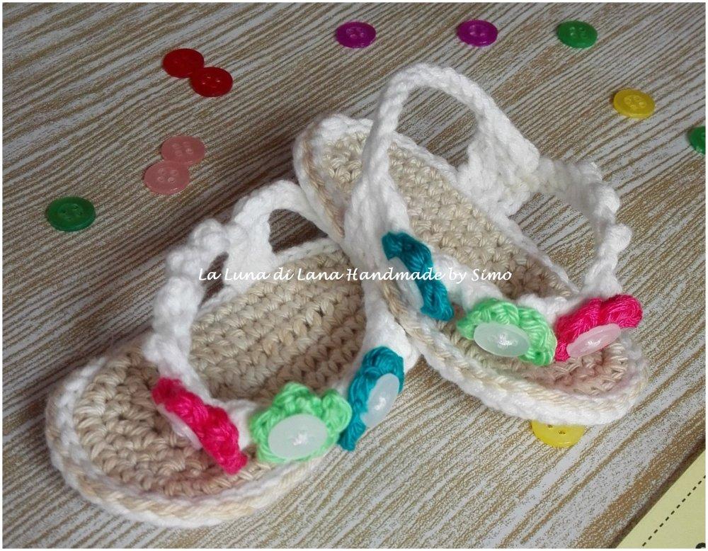 sandali infradito a uncinetto in cotone per bimba neonata