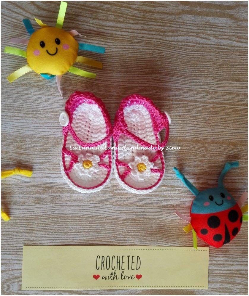 Sandali a uncinetto estivi per bimba neonata