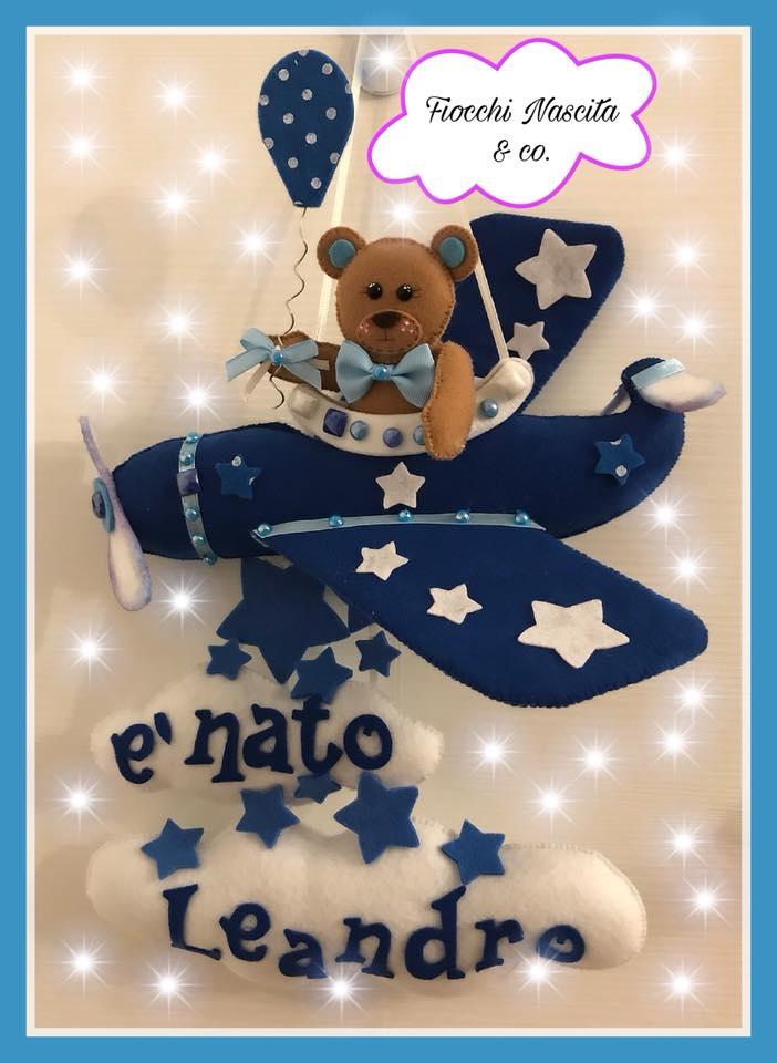 fiocco nascita orsetto con aereo